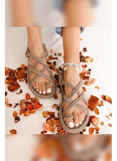 Limoya Marlene Vizon Çapraz Halat Sandalet Vizon
